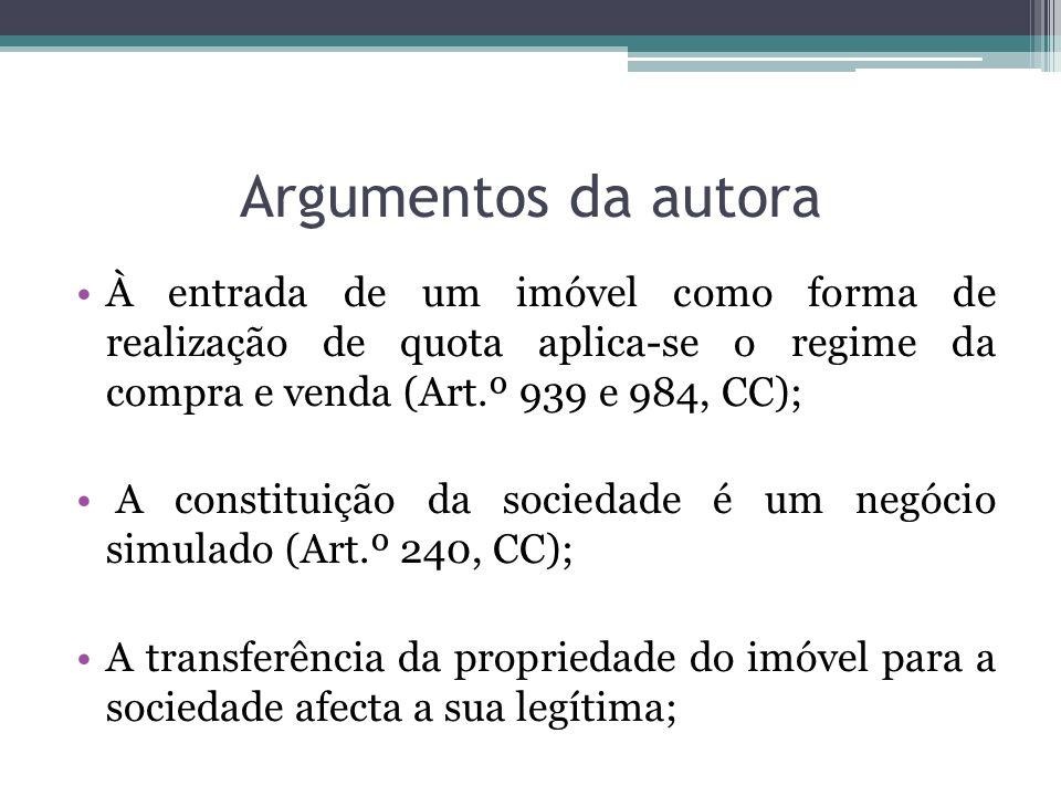 Argumentos da autora À entrada de um imóvel como forma de realização de quota aplica-se o regime da compra e venda (Art.º 939 e 984, CC);