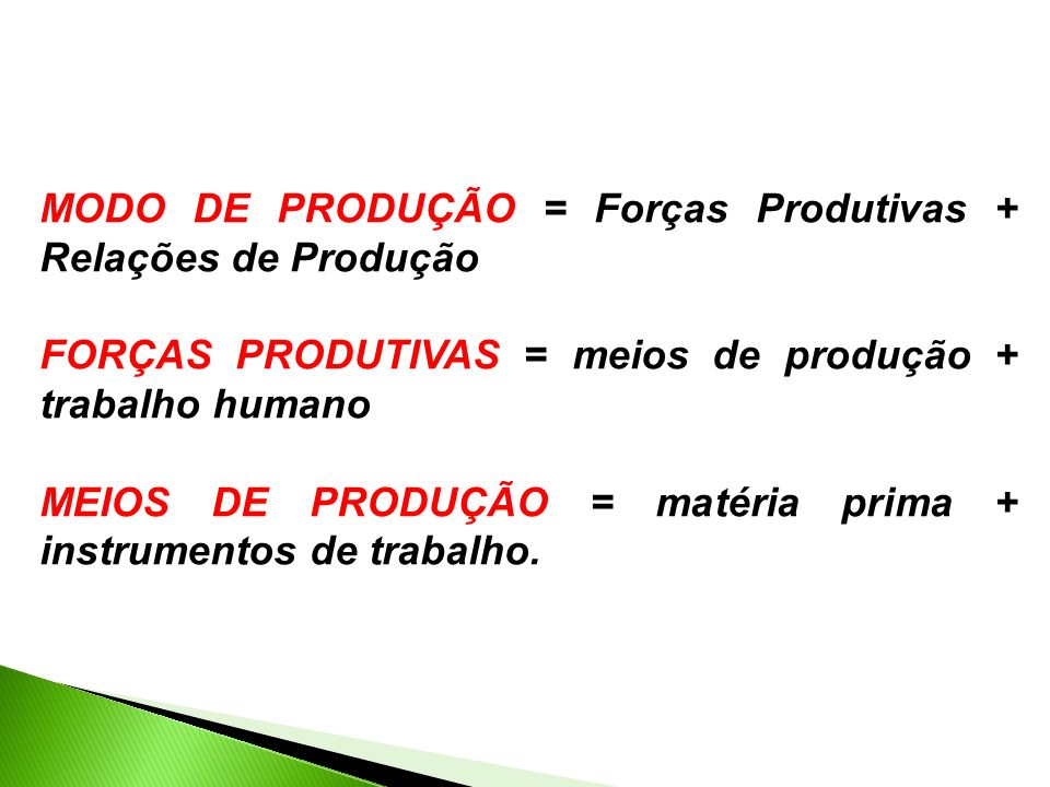 MODO DE PRODUÇÃO = Forças Produtivas + Relações de Produção
