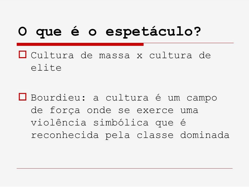 O que é o espetáculo Cultura de massa x cultura de elite