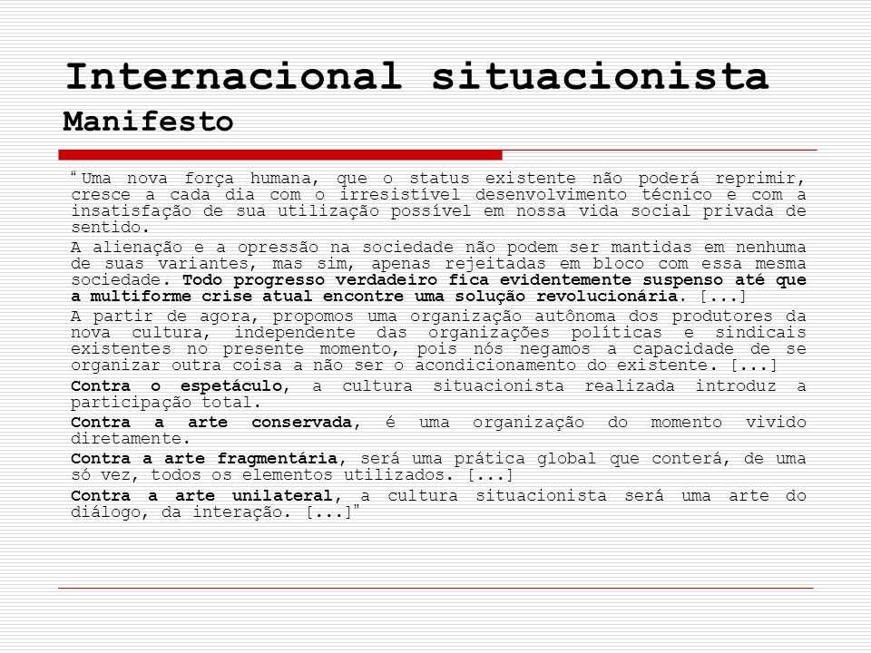 Internacional situacionista Manifesto