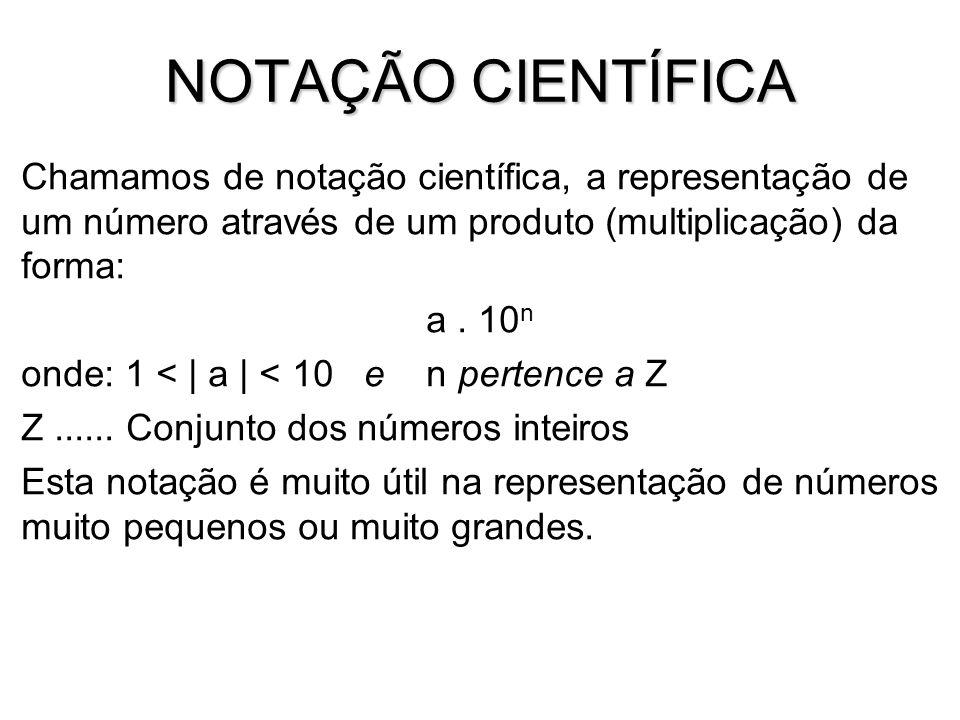 NOTAÇÃO CIENTÍFICA Chamamos de notação científica, a representação de um número através de um produto (multiplicação) da forma: