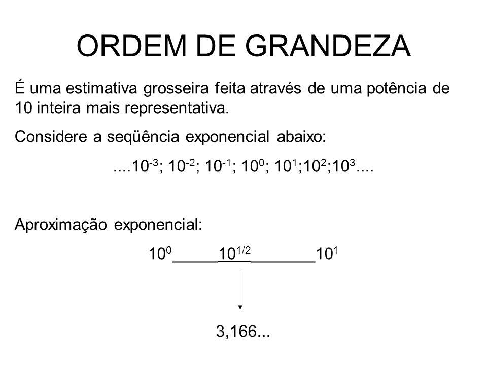 ORDEM DE GRANDEZAÉ uma estimativa grosseira feita através de uma potência de 10 inteira mais representativa.