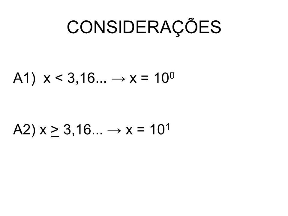 CONSIDERAÇÕES A1) x < 3,16... → x = 100