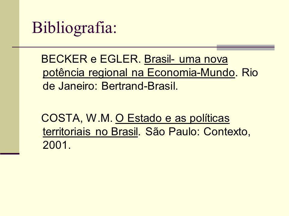 Bibliografia: BECKER e EGLER. Brasil- uma nova potência regional na Economia-Mundo. Rio de Janeiro: Bertrand-Brasil.