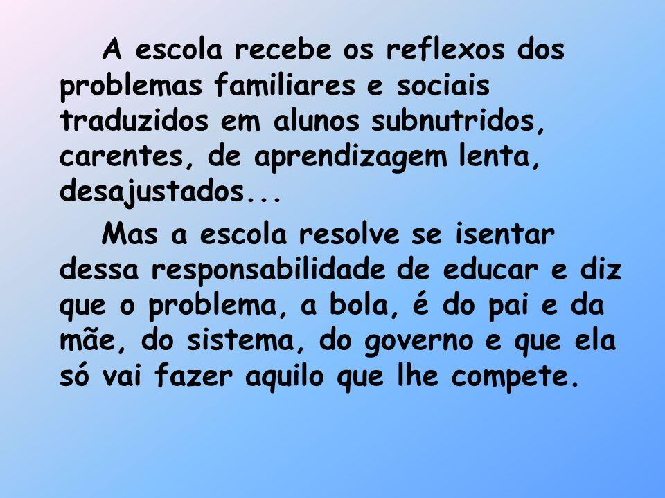 A escola recebe os reflexos dos problemas familiares e sociais traduzidos em alunos subnutridos, carentes, de aprendizagem lenta, desajustados...