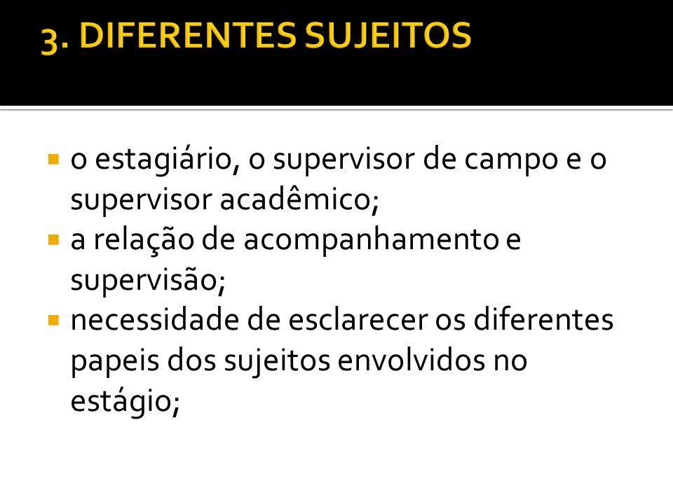 3. DIFERENTES SUJEITOS o estagiário, o supervisor de campo e o supervisor acadêmico; a relação de acompanhamento e supervisão;
