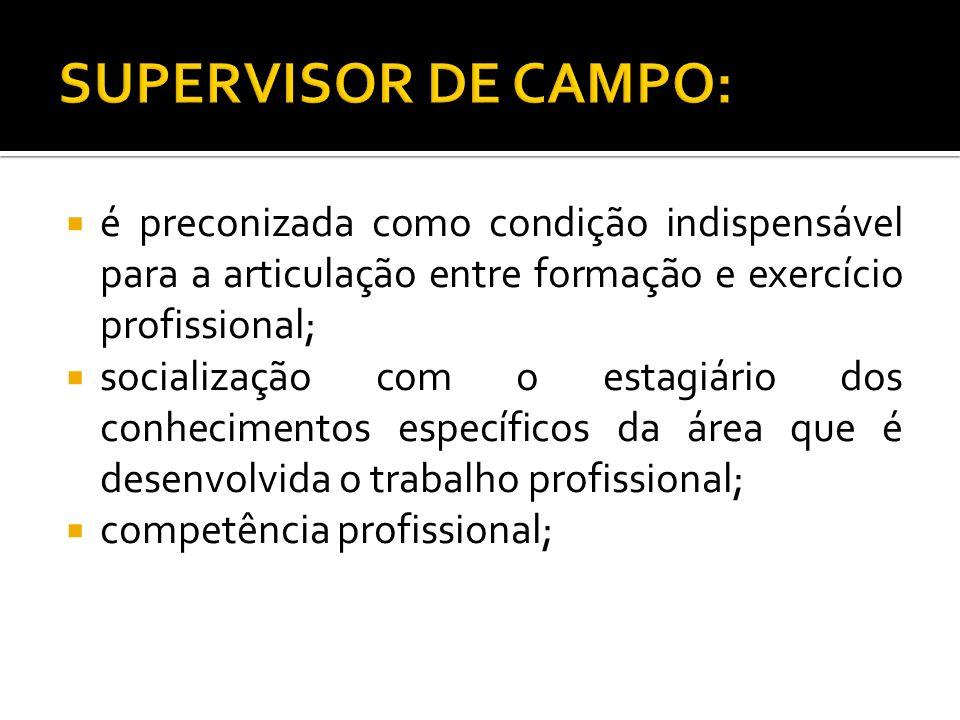 SUPERVISOR DE CAMPO: é preconizada como condição indispensável para a articulação entre formação e exercício profissional;