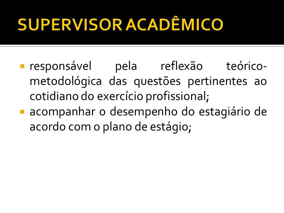 SUPERVISOR ACADÊMICO responsável pela reflexão teórico-metodológica das questões pertinentes ao cotidiano do exercício profissional;