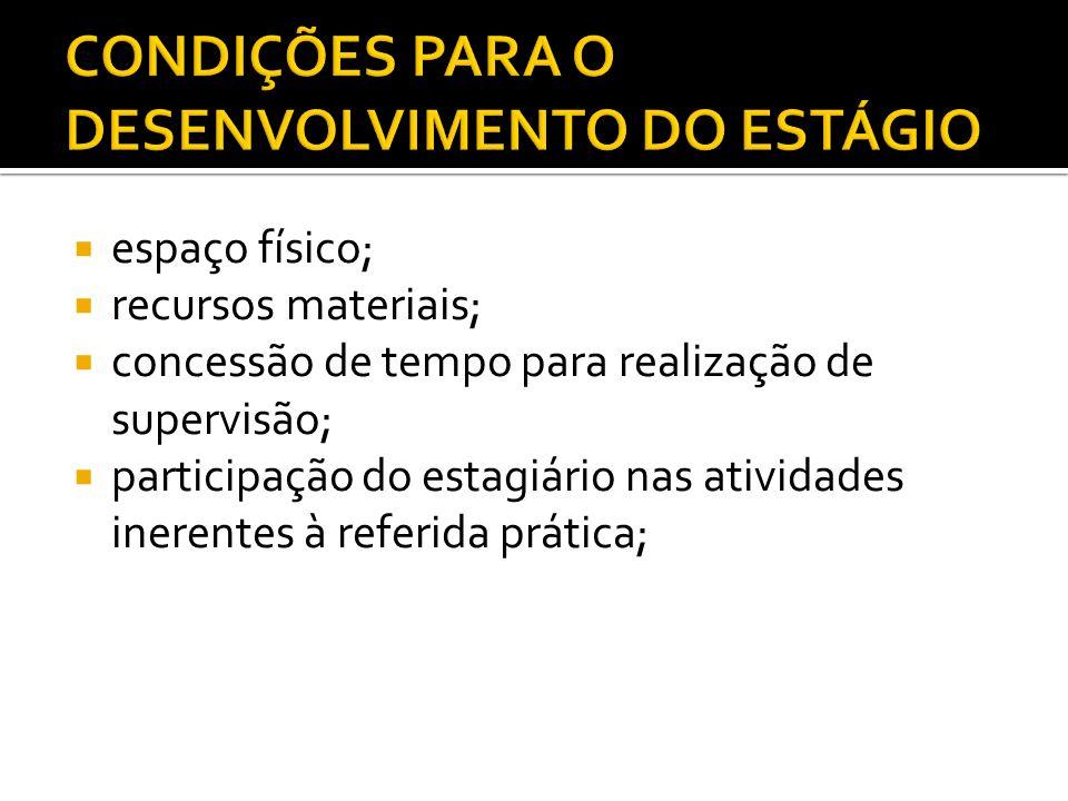 CONDIÇÕES PARA O DESENVOLVIMENTO DO ESTÁGIO