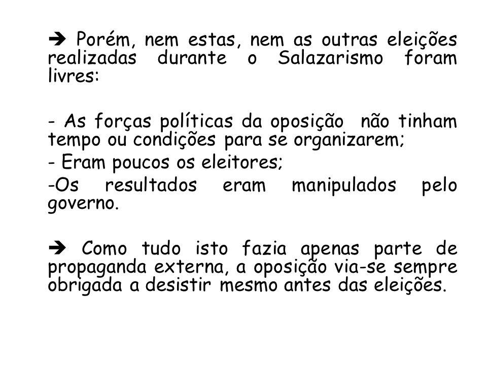  Porém, nem estas, nem as outras eleições realizadas durante o Salazarismo foram livres: