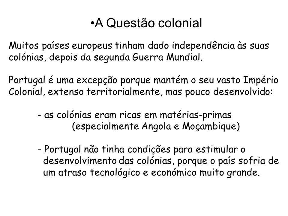 Muitos países europeus tinham dado independência às suas colónias, depois da segunda Guerra Mundial.