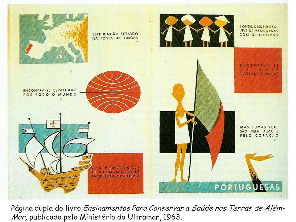 Página dupla do livro Ensinamentos Para Conservar a Saúde nas Terras de Além-Mar, publicado pelo Ministério do Ultramar, 1963.