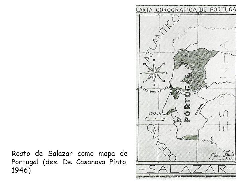 Rosto de Salazar como mapa de Portugal (des. De Casanova Pinto, 1946)