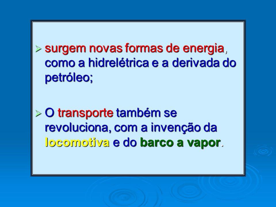 surgem novas formas de energia, como a hidrelétrica e a derivada do petróleo;