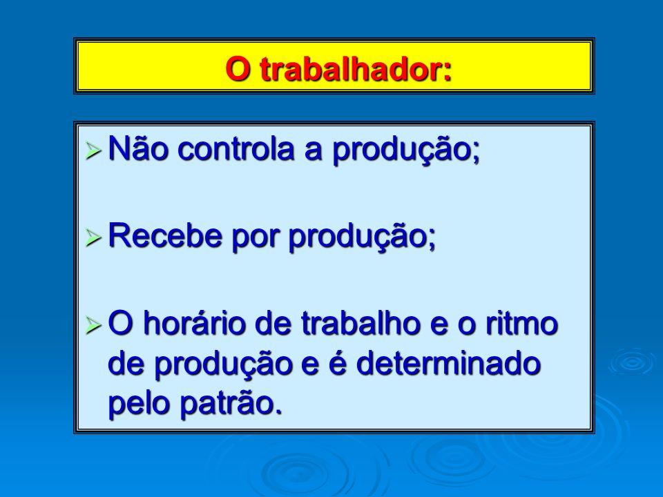 O trabalhador: Não controla a produção; Recebe por produção;