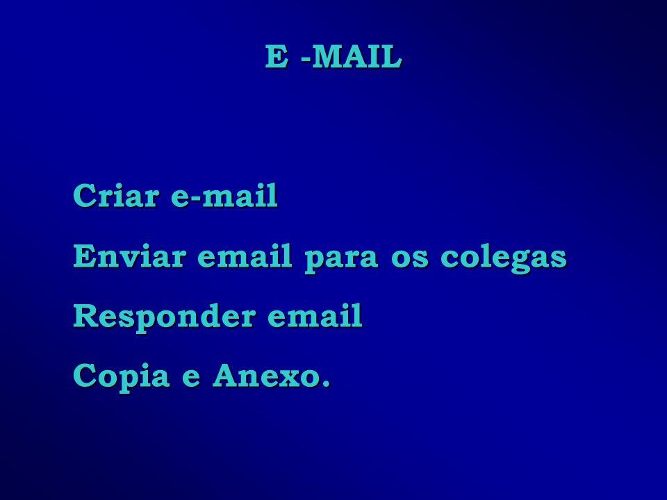 E -MAIL Criar e-mail Enviar email para os colegas Responder email Copia e Anexo.