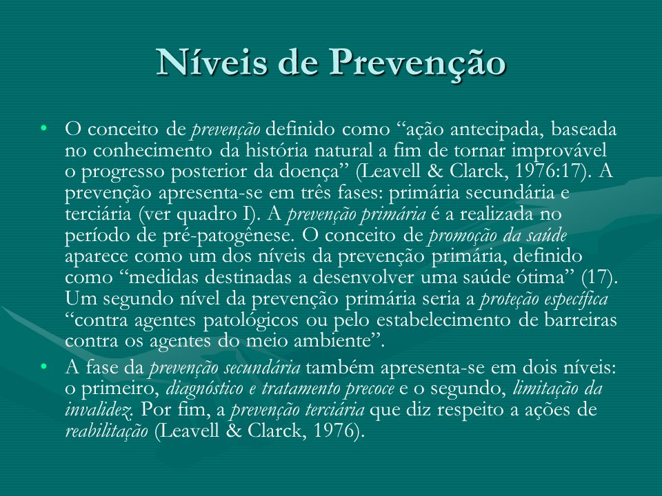 Níveis de Prevenção