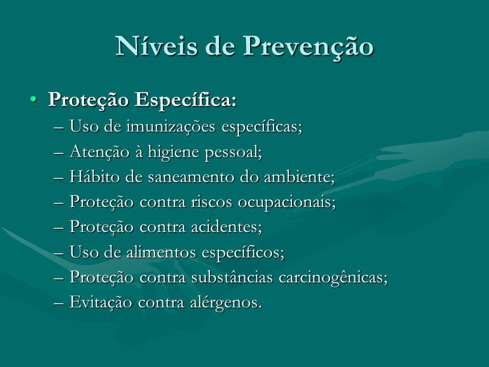 Níveis de Prevenção Proteção Específica:
