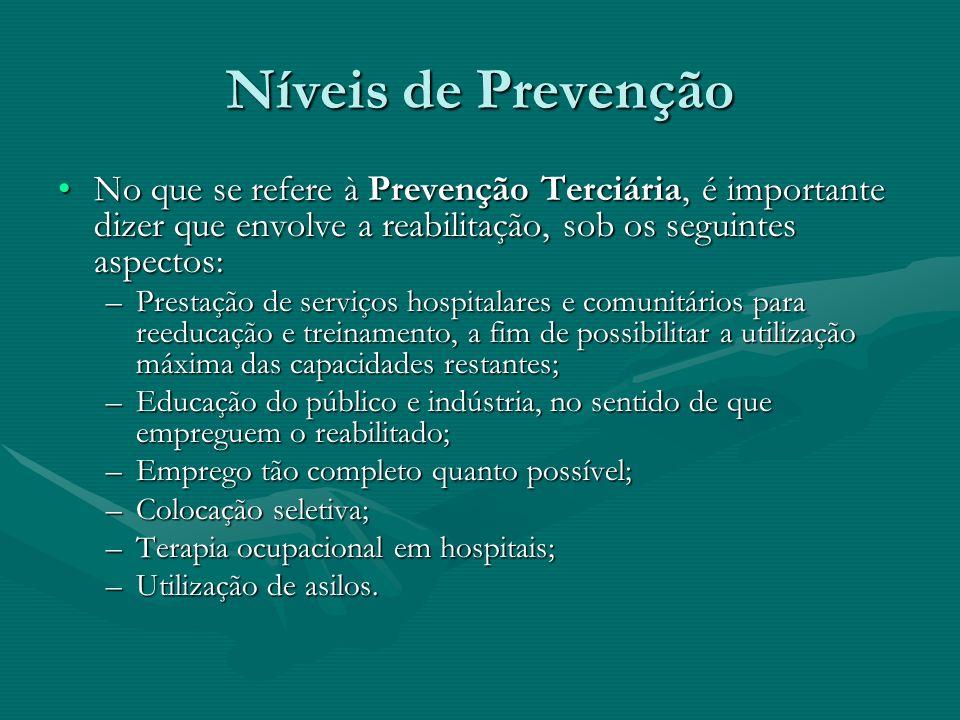 Níveis de PrevençãoNo que se refere à Prevenção Terciária, é importante dizer que envolve a reabilitação, sob os seguintes aspectos: