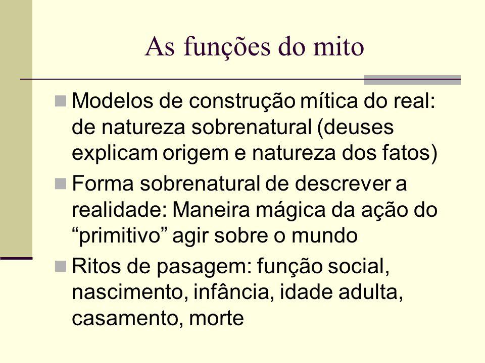 As funções do mito Modelos de construção mítica do real: de natureza sobrenatural (deuses explicam origem e natureza dos fatos)