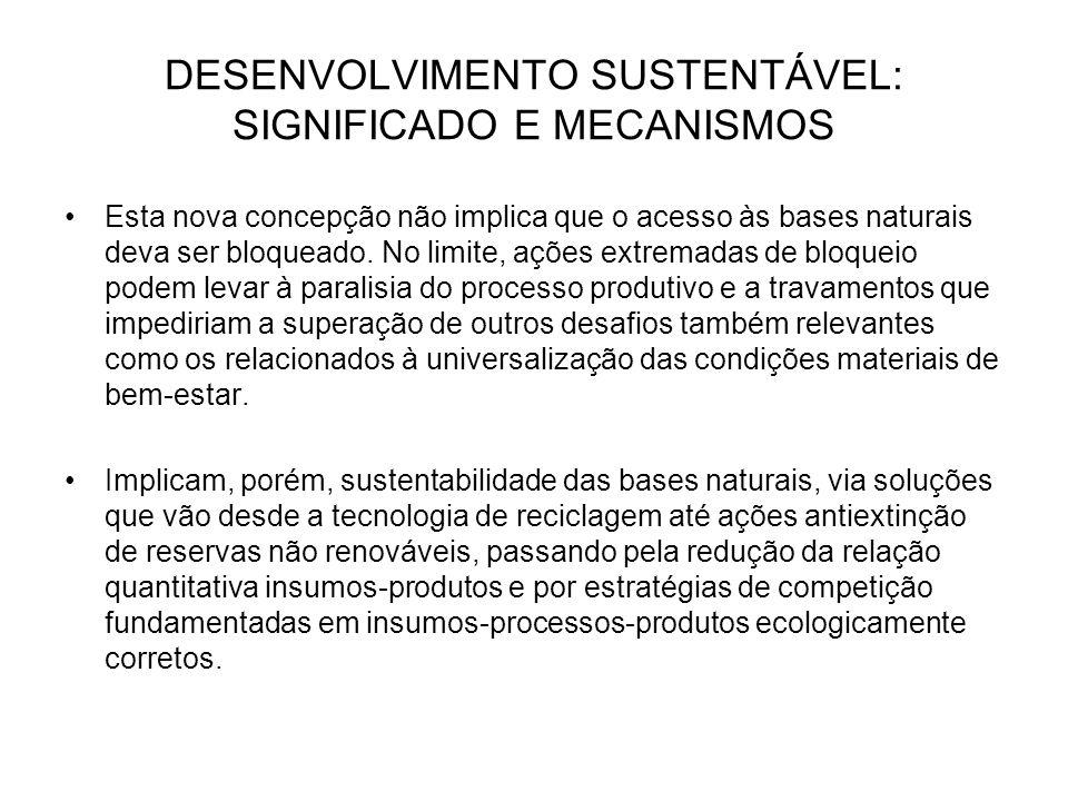 DESENVOLVIMENTO SUSTENTÁVEL: SIGNIFICADO E MECANISMOS