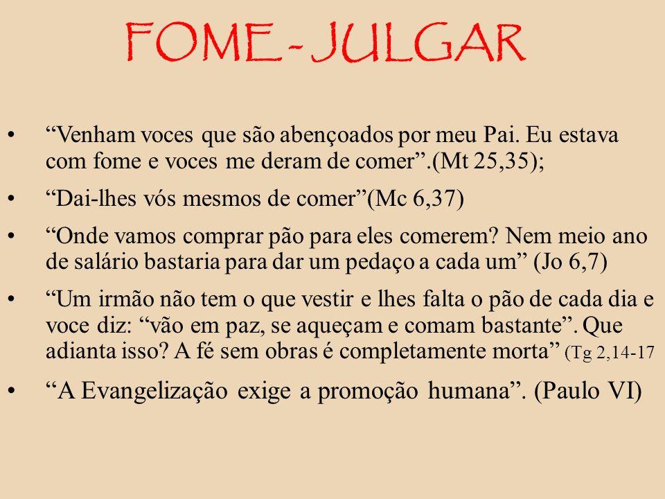 FOME - JULGAR A Evangelização exige a promoção humana . (Paulo VI)