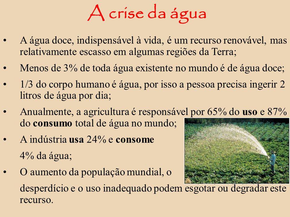A crise da água A água doce, indispensável à vida, é um recurso renovável, mas relativamente escasso em algumas regiões da Terra;