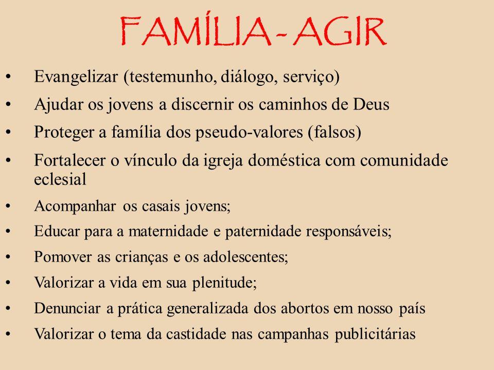 FAMÍLIA - AGIR Evangelizar (testemunho, diálogo, serviço)