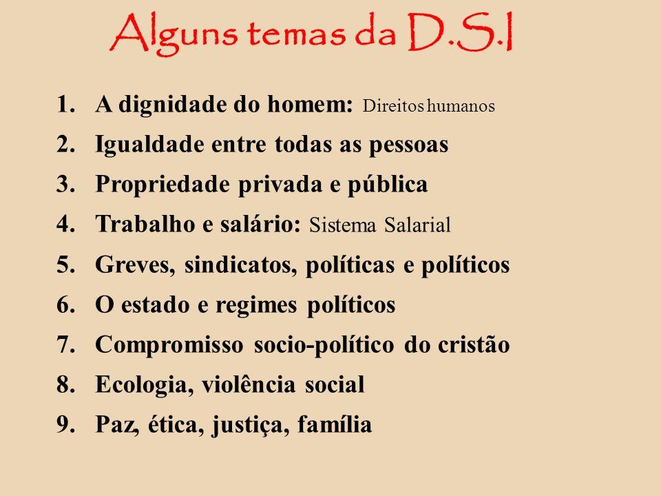 Alguns temas da D.S.I A dignidade do homem: Direitos humanos