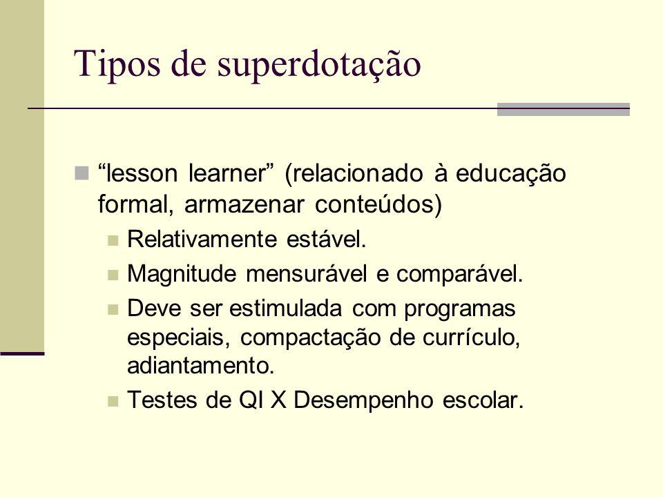 Tipos de superdotação lesson learner (relacionado à educação formal, armazenar conteúdos) Relativamente estável.