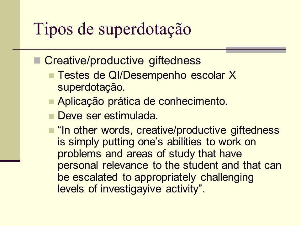 Tipos de superdotação Creative/productive giftedness