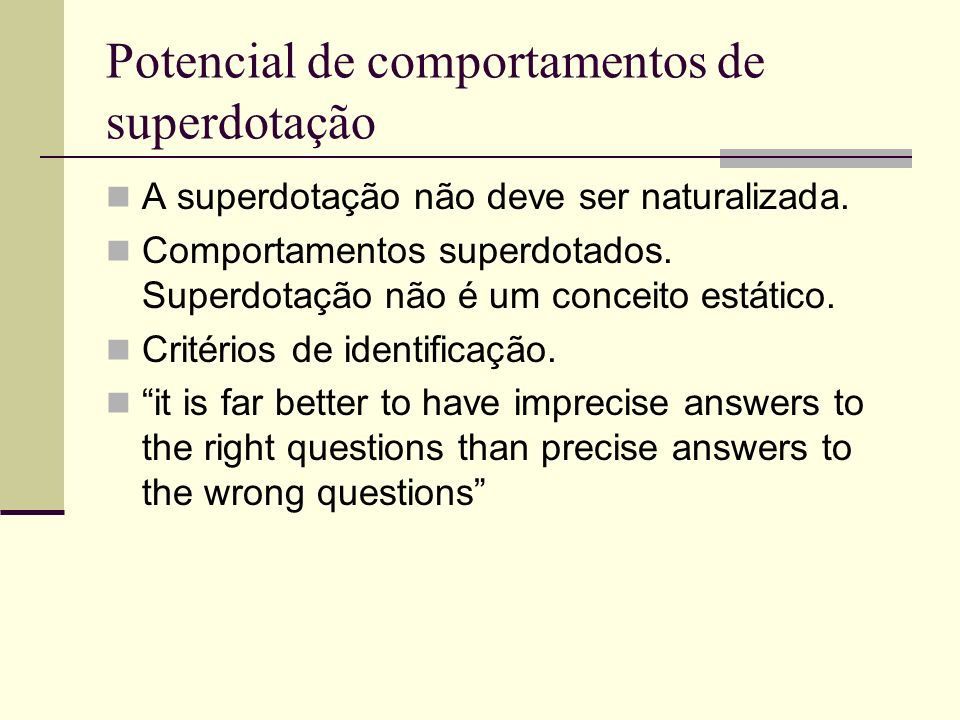 Potencial de comportamentos de superdotação
