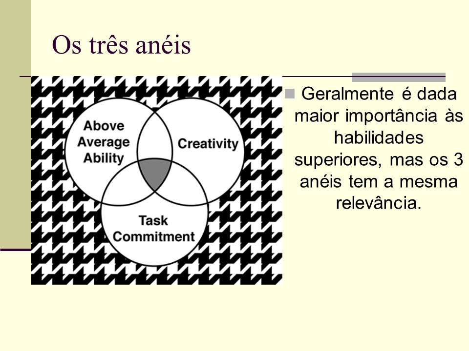Os três anéis Geralmente é dada maior importância às habilidades superiores, mas os 3 anéis tem a mesma relevância.