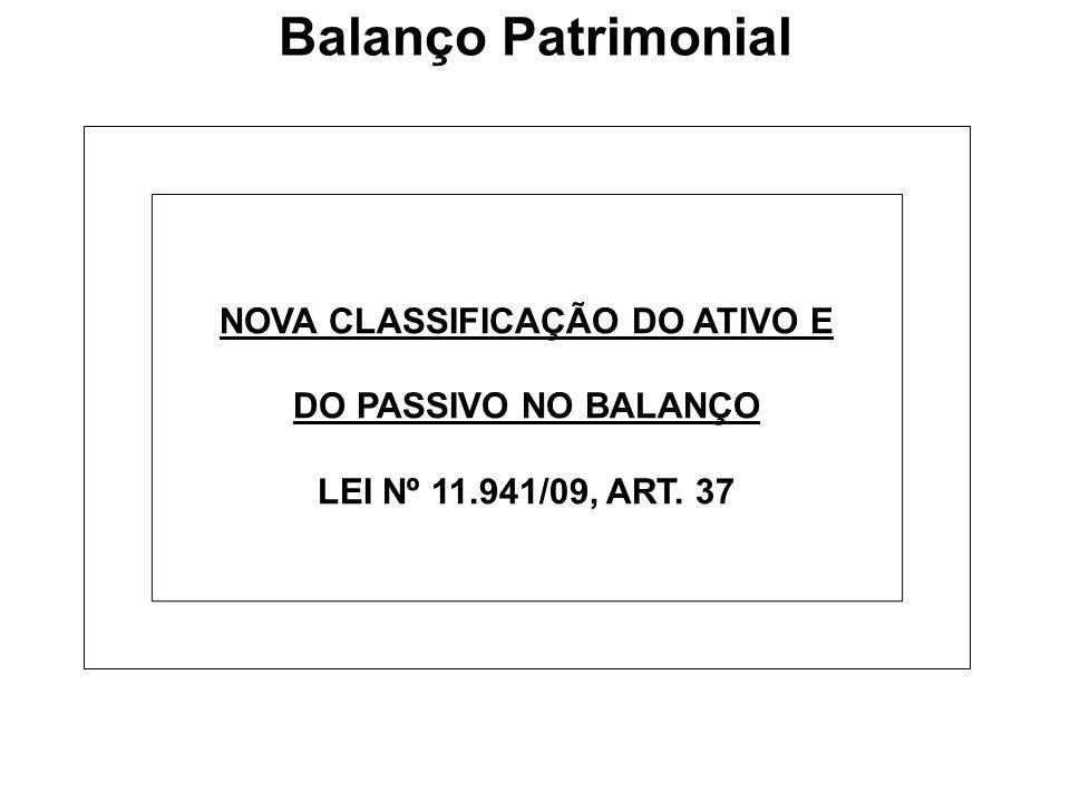 NOVA CLASSIFICAÇÃO DO ATIVO E DO PASSIVO NO BALANÇO