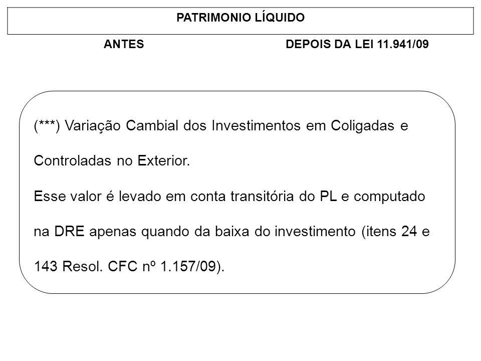 PATRIMONIO LÍQUIDOANTES. DEPOIS DA LEI 11.941/09. (***) Variação Cambial dos Investimentos em Coligadas e Controladas no Exterior.