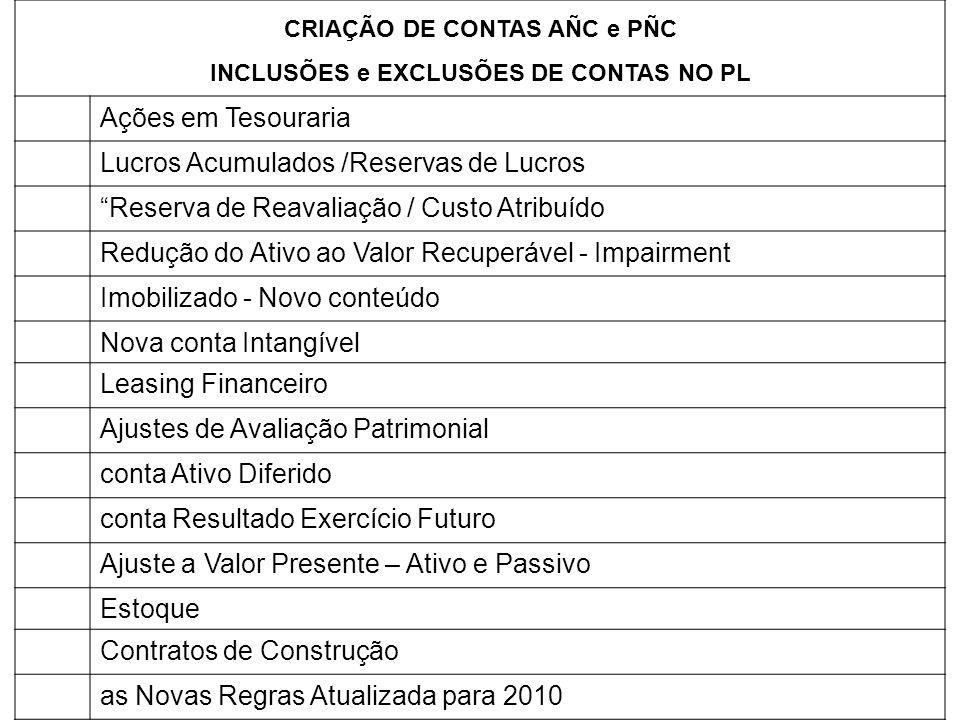 CRIAÇÃO DE CONTAS AÑC e PÑC INCLUSÕES e EXCLUSÕES DE CONTAS NO PL