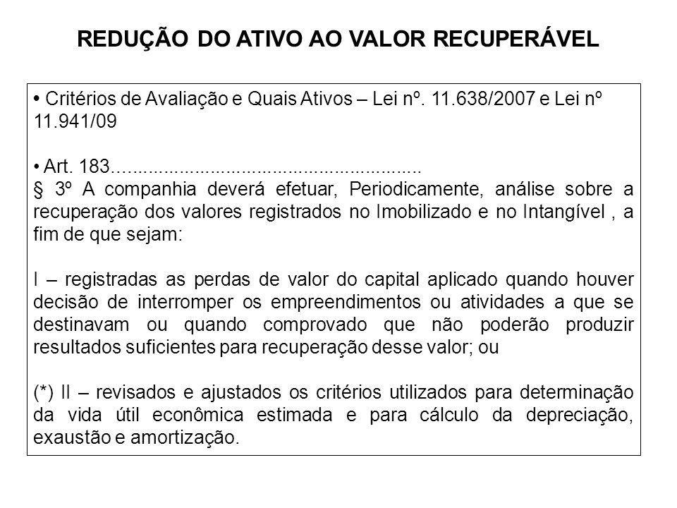 REDUÇÃO DO ATIVO AO VALOR RECUPERÁVEL