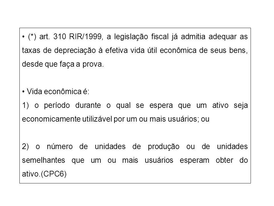 • (*) art. 310 RIR/1999, a legislação fiscal já admitia adequar as taxas de depreciação à efetiva vida útil econômica de seus bens, desde que faça a prova.