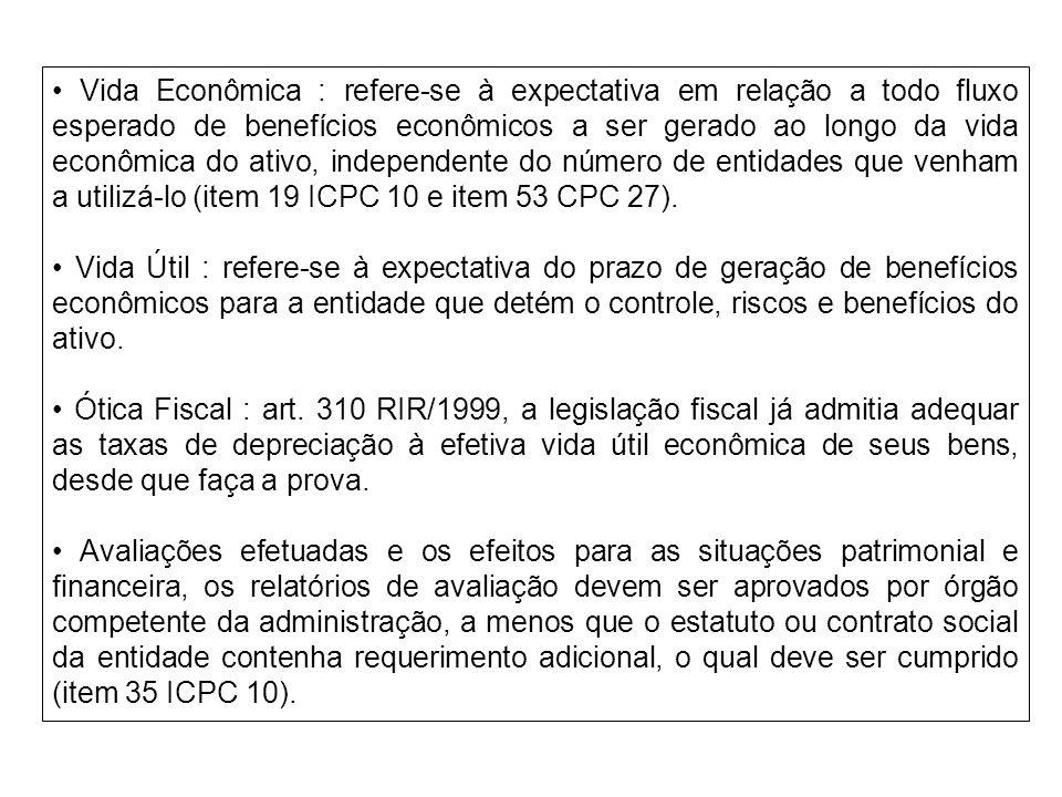 • Vida Econômica : refere-se à expectativa em relação a todo fluxo esperado de benefícios econômicos a ser gerado ao longo da vida econômica do ativo, independente do número de entidades que venham a utilizá-lo (item 19 ICPC 10 e item 53 CPC 27).