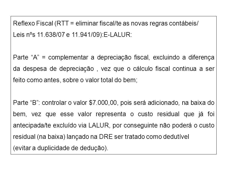 Reflexo Fiscal (RTT = eliminar fiscal/te as novas regras contábeis/