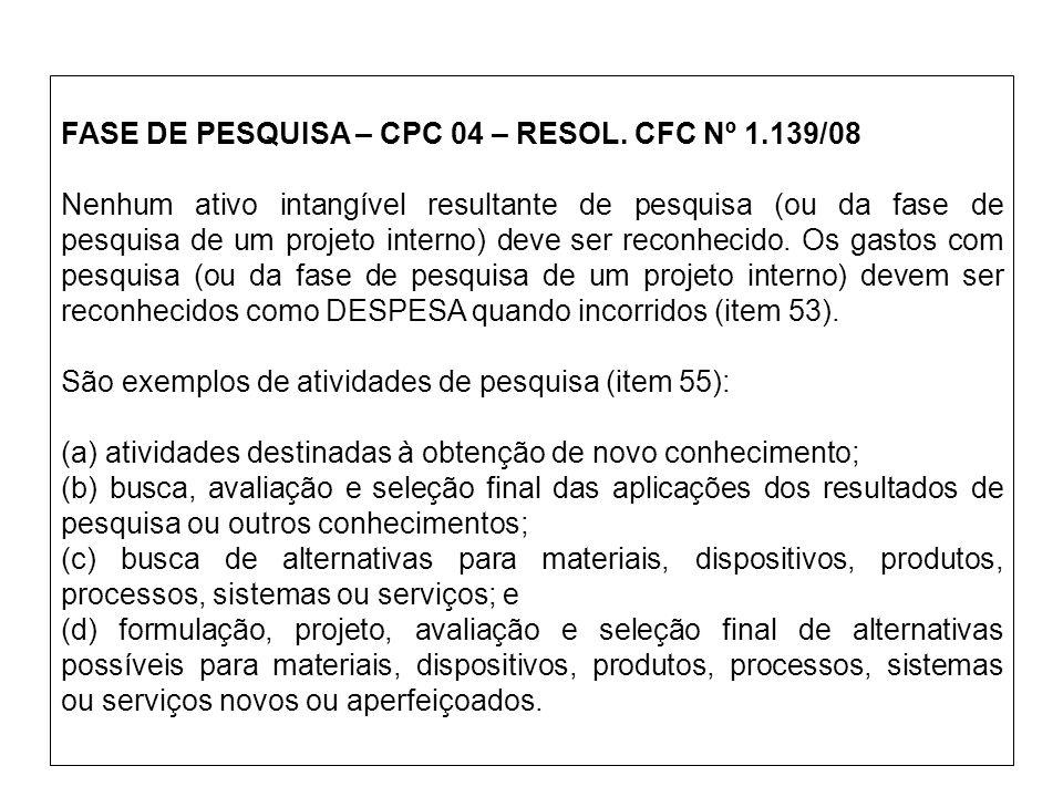 FASE DE PESQUISA – CPC 04 – RESOL. CFC Nº 1.139/08