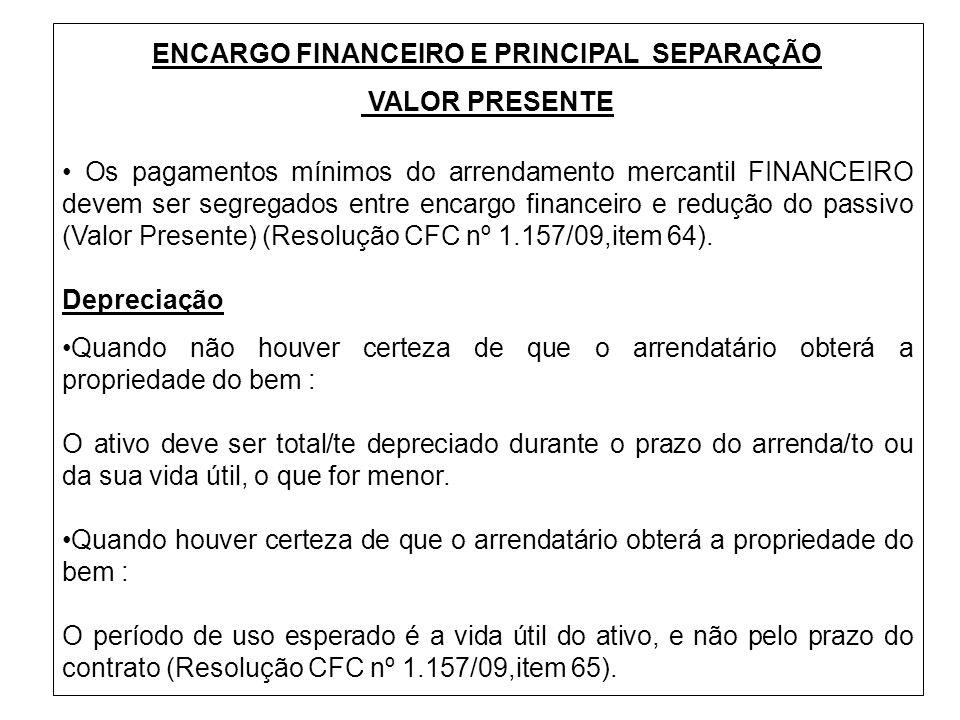 ENCARGO FINANCEIRO E PRINCIPAL SEPARAÇÃO