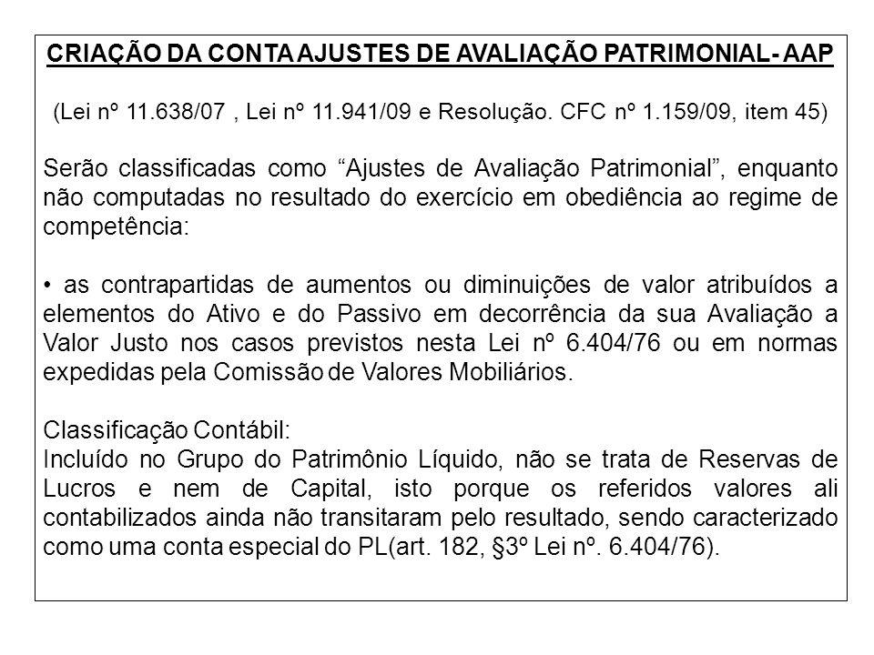 CRIAÇÃO DA CONTA AJUSTES DE AVALIAÇÃO PATRIMONIAL- AAP