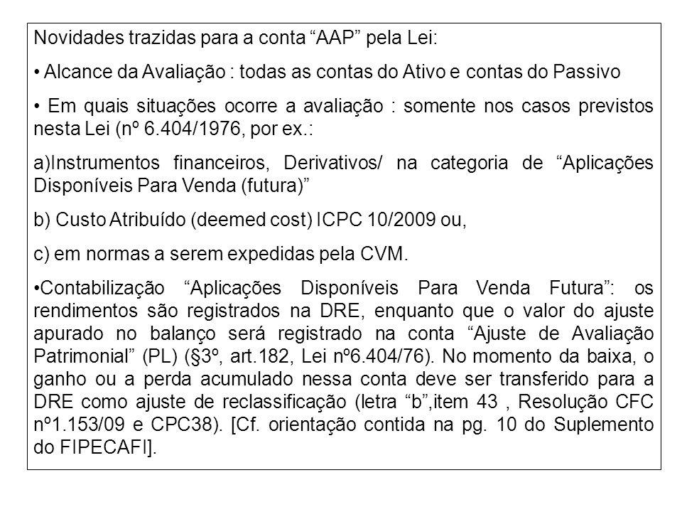 Novidades trazidas para a conta AAP pela Lei: