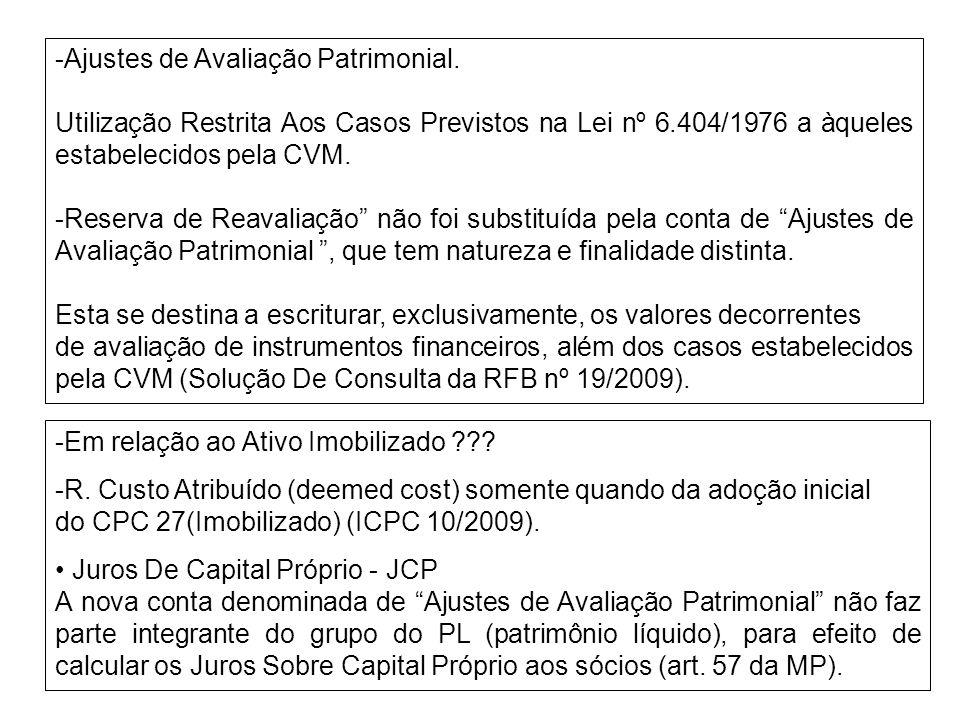 -Ajustes de Avaliação Patrimonial.