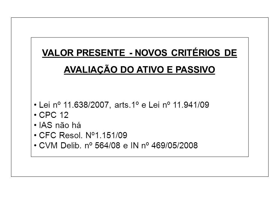 VALOR PRESENTE - NOVOS CRITÉRIOS DE AVALIAÇÃO DO ATIVO E PASSIVO