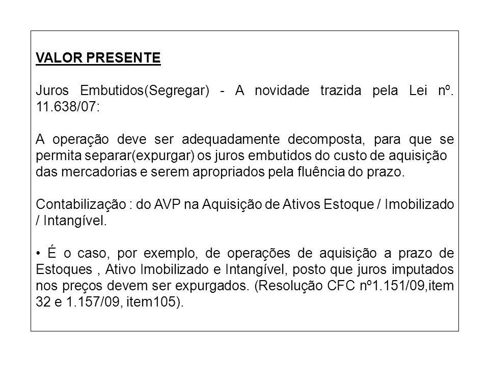VALOR PRESENTE Juros Embutidos(Segregar) - A novidade trazida pela Lei nº. 11.638/07: