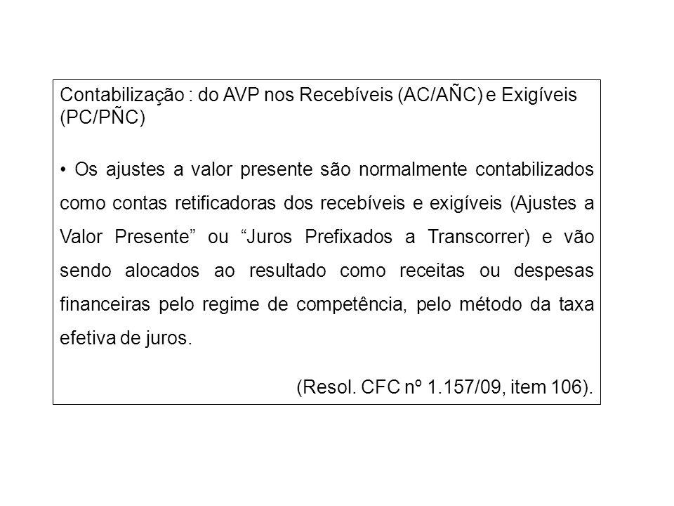 Contabilização : do AVP nos Recebíveis (AC/AÑC) e Exigíveis