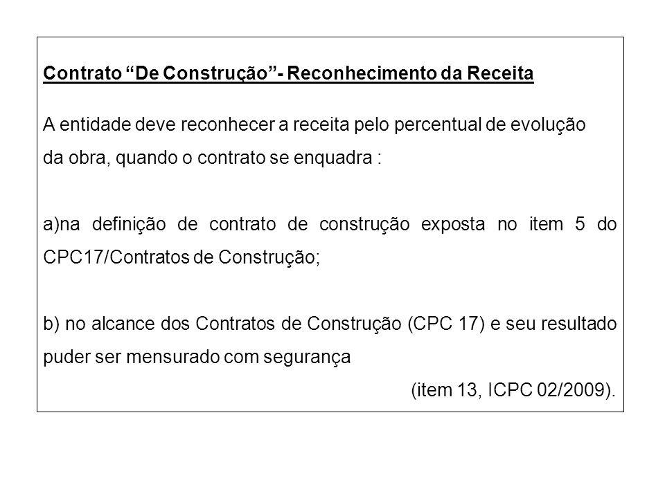 Contrato De Construção - Reconhecimento da Receita