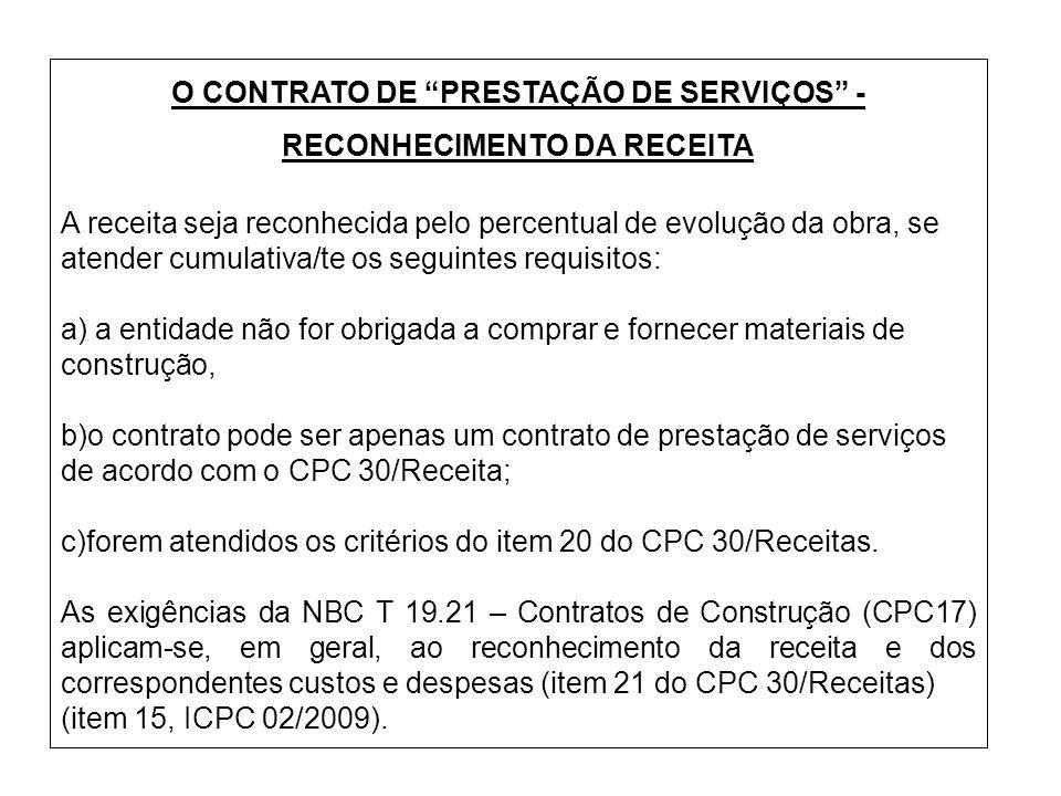 O CONTRATO DE PRESTAÇÃO DE SERVIÇOS - RECONHECIMENTO DA RECEITA